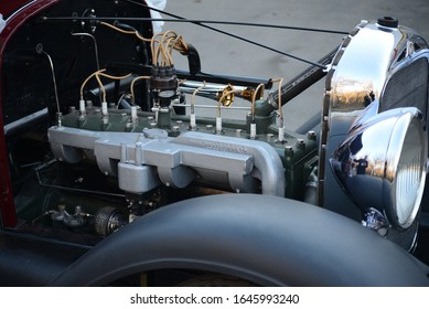 MOSCOW, RUSSIA - MARCH 10, 2014: Studebaker FA President 8 1928 engine motor view. Classic American 1920s car.
