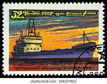 """Moscow, Russia - March 10, 2018: A stamp printed in USSR (Russia) shows dry cargo ship """"Baltic"""", series """"Ships - River Fleet of the USSR"""", circa 1981"""