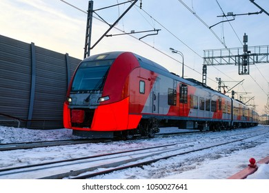 """Moscow, Russia - March, 10, 2018: train on the train line named """"Transport Ring"""" in Moscow, Russia"""