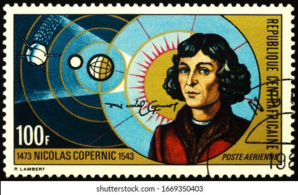 Moscow, Russia - March 10, 2020: stamp printed in Central African Republic shows Nicolaus Copernicus (1473-1543), great polish astronomer, mathematician, circa 1973