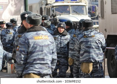 "MOSCOW, RUSSIA, MARCH 10 - The special force of the police stays near the place of meeting ""For honest election"" on March 10, 2012 in Moscow"