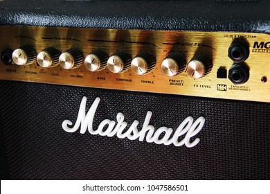 MOSCOW, RUSSIA - March 11, 2018: Close up of a Marshall guitar amplifier in a music retail shop