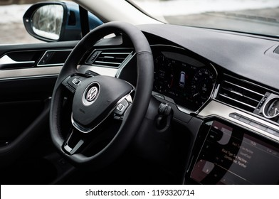 MOSCOW, RUSSIA - MARCH 11, 2018 VOLKSWAGEN PASSAT Variant 2.0 TDI DSG wagon car, interior view. Test of new car - Volkswagen Passat Wagon. Wagon car for family