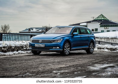 MOSCOW, RUSSIA - MARCH 11, 2018 VOLKSWAGEN PASSAT Variant 2.0 TDI DSG wagon car, front-side view. Test of new car - Volkswagen Passat Wagon. Wagon car for family