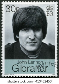 MOSCOW, RUSSIA - MARCH 12, 2016: A stamp printed in Gibraltar shows John Winston Ono Lennon (1940-1980), singer and songwriter,1999