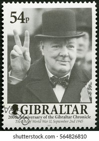 MOSCOW, RUSSIA - MARCH 12, 2016: A stamp printed in Gibraltar shows Sir Winston Spencer Churchill (1874-1965), politician, 200 Years of the Gibraltar Chronicle, 2001