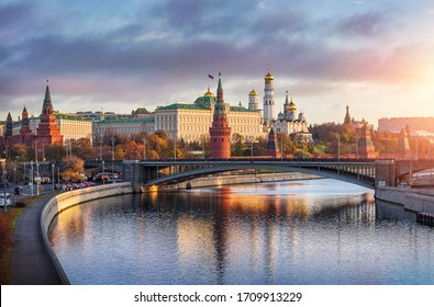Moscow, Russia - March 12, 2018: An evening view of Kremlin, a fortified complex in the center of Moscow, overlooking the Moskva River to the south.