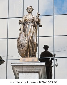 MOSCOW, RUSSIA - MARCH 13, 2016:  Statue of Themis. The Supreme Court of the Russian Federation