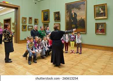 MOSCOW, RUSSIA - MARCH 13,2015:State Tretyakov Gallery is art gallery, foremost depository of Russian fine art in world. Gallery's history starts in 1856. Hall of Great Russian artist Borovikovskiy