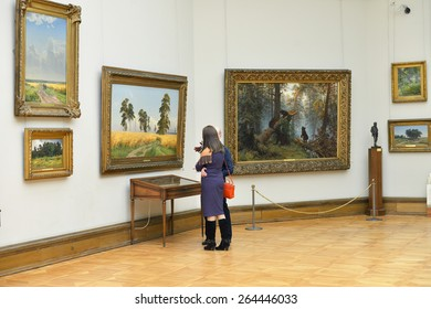 MOSCOW, RUSSIA - MARCH 13,2015:State Tretyakov Gallery is art gallery, foremost depository of Russian fine art in world. Gallery's history starts in 1856. Hall of Great Russian artist Shishkin Ivan