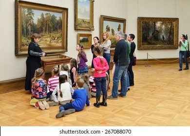 MOSCOW, RUSSIA - MARCH 13,2015:State Tretyakov Gallery is art gallery, foremost depository of Russian fine art in world. Gallery's history starts in 1856. Hall of Great Russian artist Shishkin Ivan.