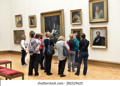MOSCOW, RUSSIA - MARCH 13,2015:State Tretyakov Gallery is art gallery in Moscow, and is foremost depository of Russian fine art in world. Gallery's history starts in 1856. Hall of artist Kramskoy