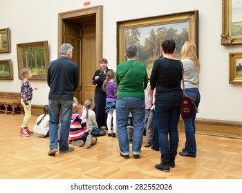 MOSCOW, RUSSIA - MARCH 13,2015:State Tretyakov Gallery is art gallery, foremost depository of Russian fine art in world. Gallery's history starts in 1856. Hall of Great Russian artist Shishkin