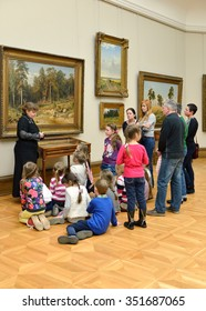 MOSCOW, RUSSIA - MARCH 13,2015:State Tretyakov Gallery is art gallery, foremost depository of Russian fine art in world. Gallery's history starts in 1856. Hall of Great Russian artist I. Shishkin