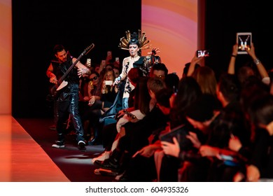 MOSCOW, RUSSIA - MARCH 14, 2017: Model walk runway for YULIA KOSYAK catwalk at Fall-Winter 2017-2018 at Mercedes-Benz Fashion Week Russia.