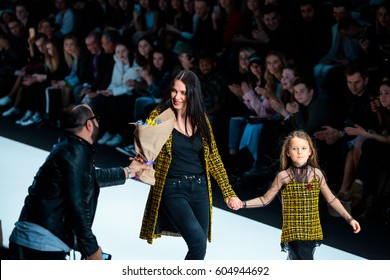 MOSCOW, RUSSIA - MARCH 14, 2017: Model walk runway for YASYA MINOCHKINA catwalk at Fall-Winter 2017-2018 at Mercedes-Benz Fashion Week Russia.
