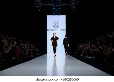 MOSCOW, RUSSIA - MARCH 15, 2017: Model walk runway for BORODULIN'S catwalk at Fall-Winter 2017-2018 at Mercedes-Benz Fashion Week Russia.
