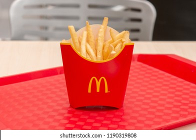 Moscow, Russia, March 15 2018: McDonald's, French Fries at red tray