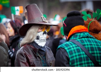 MOSCOW, RUSSIA - MARCH 15:  St. Patrick's Day first celebrated in Sokolnink park in Moscow , March 15, 2014 in Moscow, Russia. St. Patrick's Day became a traditional holiday in Moscow.