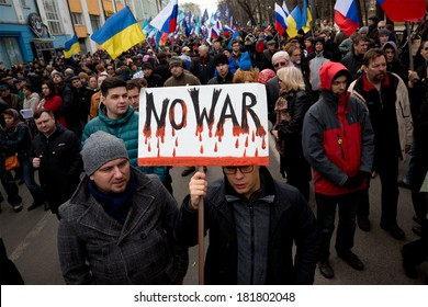 MOSCOW, RUSSIA - MARCH 15: Thousands people marched against war in Ukraine in center of Moscow, March 15, 2014, Russia