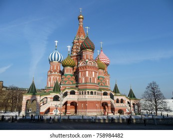 Moscow, Russia - March 16, 2012 -CathedralofVasily the Blessedon Red square in Moscow in sunny winter day