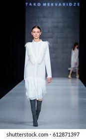 MOSCOW, RUSSIA - MARCH 16, 2017: Model walk runway for TAKO MEKVABIDZE catwalk at Fall-Winter 2017-2018 at Mercedes-Benz Fashion Week Russia.