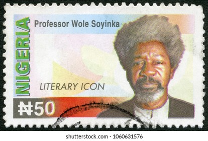 MOSCOW, RUSSIA - MARCH 16, 2018: A stamp printed in Nigeria shows Professor Wole Soyinka (born 1934) Literary Icon, writer, 2005