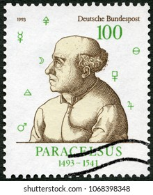 MOSCOW, RUSSIA - MARCH 16, 2018: A stamp printed in Germany shows Paracelsus Theophrastus von Hohenheim (1493-1541), physician, alchemist, and astrologer, 1993
