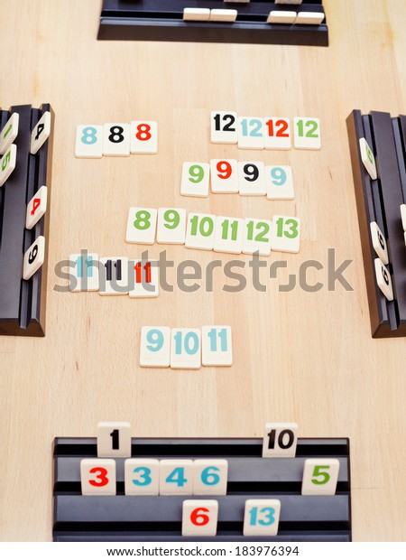 MOSCOW, RUSSIA - MARCH 17, 2014: game field of Rummikub board game. Rummikub was invented by Ephraim Hertzano in the early 1930s.