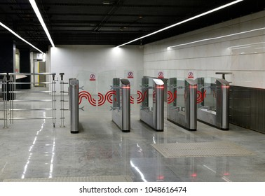 Moscow, Russia - March 17. 2018. turnstiles at entrance to the metro station Petrovsky Park