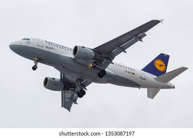 Moscow, Russia - March 17, 2019: Aircraft Airbus A319-114 D-AILE of Lufthansa going to landing at Domodedovo international airport in Moscow against gray sky on a cloudy day
