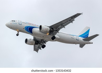 Moscow, Russia - March 17, 2019: Aircraft Airbus A320-214 VP-BHZ of Yamal Airlines going to landing at Domodedovo international airport in Moscow against gray sky on a cloudy day