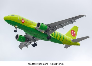 Moscow, Russia - March 17, 2019: Aircraft Airbus A319-114 VP-BHK of S7 - Siberia Airlines going to landing at Domodedovo international airport in Moscow against gray sky on a cloudy day