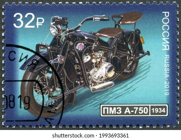 MOSCOW, RUSSIA - MARCH 17, 2020: A stamp printed in Russia shows PMZ A750, The history of the domestic motorcycle, 2019