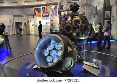 Moscow, Russia - March 18, 2016: Projector at the exhibition in the Moscow Planetarium - the first in a family of projection devices with an automated control system.