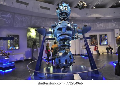 Moscow, Russia - March 18, 2016: Projector at the exhibition in the Moscow Planetarium - sixth-generation device (1977), with an automated control system.