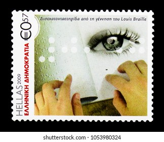 MOSCOW, RUSSIA - MARCH 18, 2018: A stamp printed in Greece shows 200 Years from the Birth of Louis Braille, Anniversaries and Events serie, circa 2009