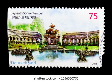 MOSCOW, RUSSIA - MARCH 18, 2018: A stamp printed in Germany shows Sun Temple Bayreuth, serie, circa 2013