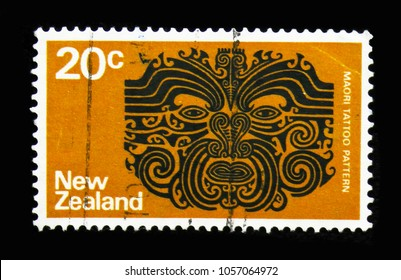 MOSCOW, RUSSIA - MARCH 18, 2018: A stamp printed in New Zealand shows Maori Tattoo, Definitives serie, circa 1974