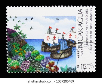 MOSCOW, RUSSIA - MARCH 18, 2018: A stamp printed in Nicaragua shows Sailing Ships, Discovery of America, 500th Anniversary serie, circa 1987