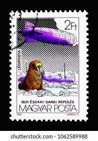 "MOSCOW, RUSSIA - MARCH 18, 2018: A stamp printed in Hungary shows Walrus (Odobenus rosmarus), Zeppelin, Icebreaker ""Malygin"", Zeppelin serie, circa 1981"