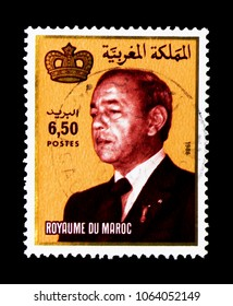 MOSCOW, RUSSIA - MARCH 18, 2018: A stamp printed in Morocco shows King Hassan II, serie, circa 1987
