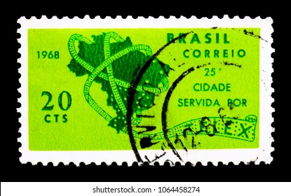 MOSCOW, RUSSIA - MARCH 18, 2018: A stamp printed in Brazil shows Telex, Ministry of Post & Telecommunications serie, circa 1968