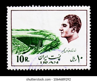 MOSCOW, RUSSIA - MARCH 18, 2018: A stamp printed in Iran shows Shah Abbas Kabir Dam, Buildings and industrial plants, Mohammad Reza Shah Pahlavi serie, circa 1976