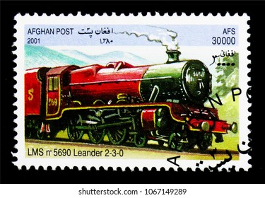 MOSCOW, RUSSIA - MARCH 18, 2018: A stamp printed in Afghanistan shows LMS 5690 Leander 2-3-0, Locomotives serie, circa 2001