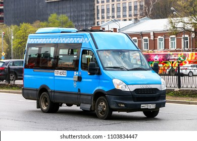 Moscow, Russia - March 2, 2018: Urban passenger van Iveco Daily in the city street.