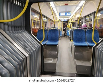 Moscow, Russia - March, 2, 2020: image of an interior of a bus