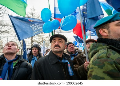 MOSCOW, RUSSIA - MARCH 2: Russian demonstrators rally in support of U.S. adoption ban. Moscow, March 2, 2013