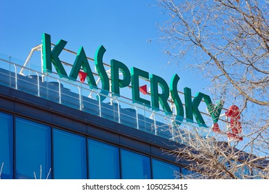 Moscow, Russia - March 20, 2018: The sign Kaspersky Lab on the building of the Central office of Kaspersky Lab in Moscow.