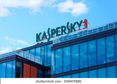 Moscow, Russia - March 20, 2018: The sign Kaspersky Lab on the building of the Central office of Kaspersky Lab in Moscow. Headquarter of Kaspersky lab, one of fastest-growing cybersecurity company
